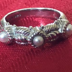 JUDITH RIPKA Pearls 925 Silver RING BAND ROPE 7!!